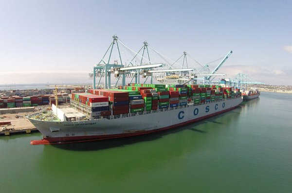 BIG BOAT: The Cosco Development ship, which carries 13,000 containers
