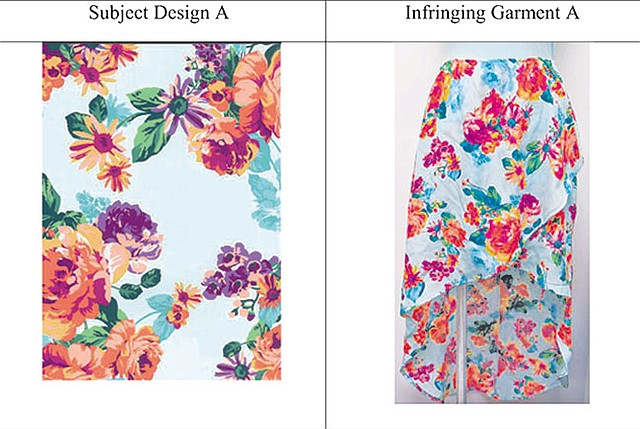 SIDE BY SIDE: Novelty Textile said its fabric design on the left was illegally copied and used in the skirt on the right, which was sold at The Wet Seal.
