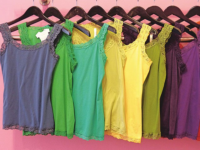 TEE TIME: These colorful tops trimmed with lace are just one of the several styles in the Necessitees collection.