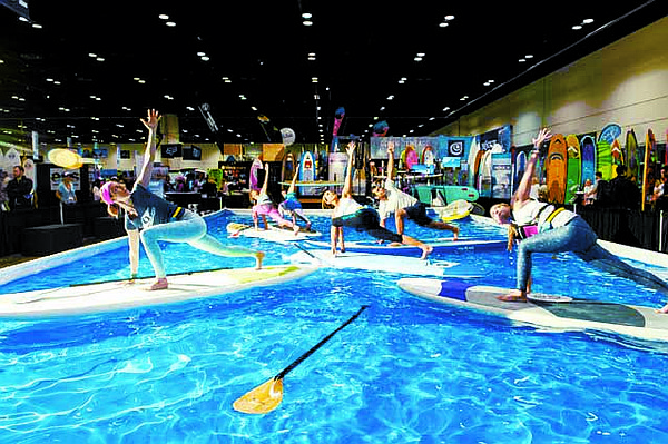 MERCHANDISE MIX: Surf Expo showcases merchandise for surf, swim, stand-up paddleboarding (pictured), skate, lifestyle and coastal gift.