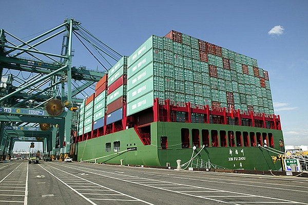 BIG LOAD: China Shipping containers on a ship at the Port of Los Angeles