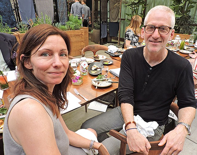 TO TOKYO: Paul Blum of Fred Segal, pictured right, at a Los Angeles–area luncheon for Fred Segal's Tokyo store. Alice Ann Wilson of Creative Artists Agency is pictured left. CAA collaborated with Fred Segal on the development of creative marketing content.
