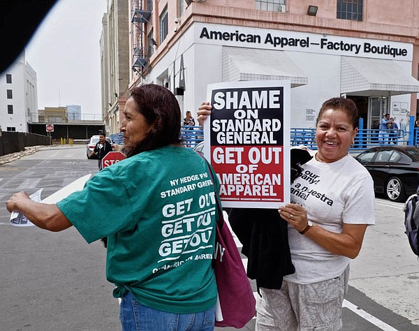 RAUCOUS RALLIES: American Apparel workers and sympathizers recently rallied near the American Apparel headquarters in downtown Los Angeles.