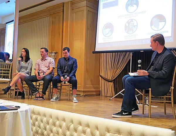 From left to right: Shauna Keller from Skullcandy; Daniel Neukkomm from O'Neill; Rob Heppler from Buscemi; and moderator Dennis O'Malley from ReadyPulse, a social ambassador marketing platform.