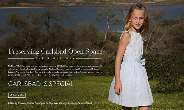 THE CAMPAIGN: The website for Preserving Carlsbad Open Space, a group  that advocates for a land-use change favored by Caruso Affiliated
