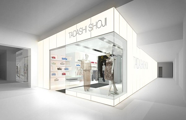 Rendering of Sough Coast Plaza's remodeled Tadashi Shoji shop. Image courtesy of Tadashi Shoji.