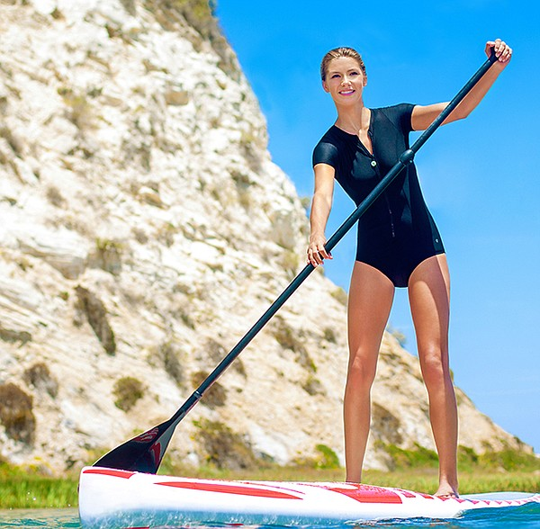 "Originally created for stand-up paddleboarding, Raj's Next collection includes activewear pieces made from a fabric called Next Flex. Pictured: The ""Malibu Zip Up"" by Next (photo courtesy of Raj Manufacturing)"