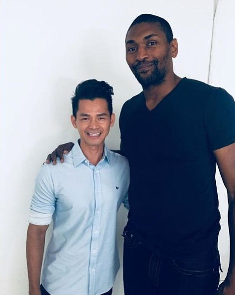 Danh Tran with Metta World Peace | Photo via Metta World Peace's Instagram