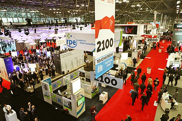 A bird's-eye view of the exhibit floor of the National Retail Federation's Big Show