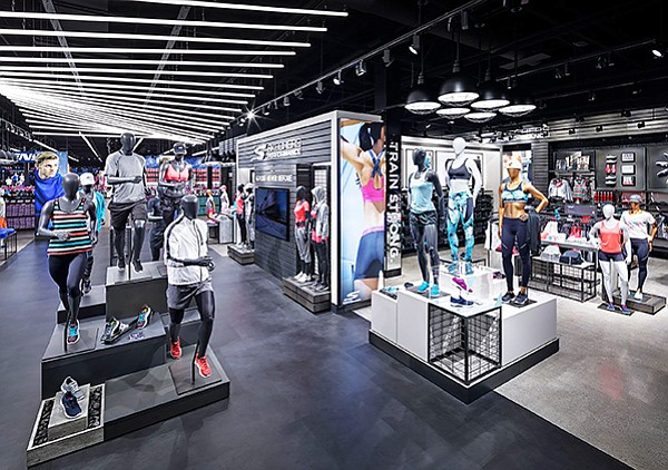 Display of the Skechers Performance line at a company store