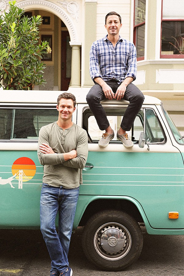 Michael Natenshon, seated on van, with Adam Lynch, Marine Layer's COO