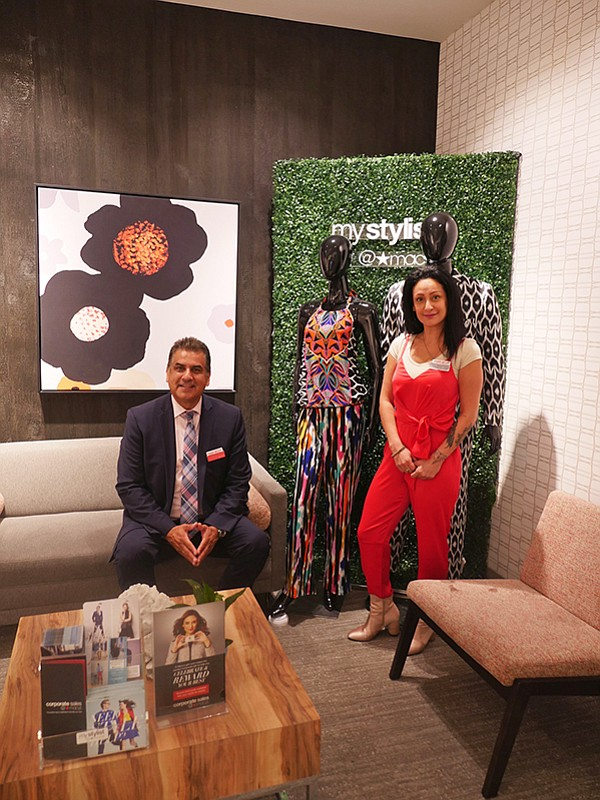 Henry L. Aguirre, manager of the Downtown LA Macy's at MyStylist@Macy's lounge with Shadi Gadazgar, a Macy's Platinum Star Associate. | Photo by Andrew Asch
