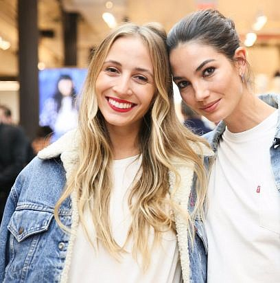 Harley Viera-Newton of HVN, left, wearing a Levi's jacket. She hung out with model Lily Aldridge at a 2017 Levi's event.  Image via Levi's Twitter feed.