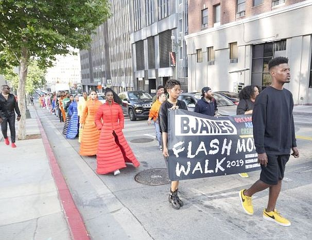 Brandon D James led a Flash Mob Walk through downtown Los Angeles on June 7.