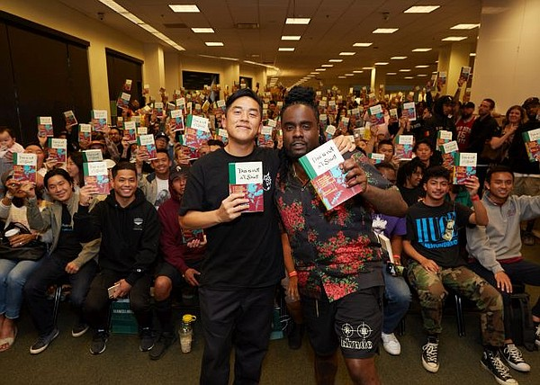 Bobby Hundreds, left, with Wale at June 25 Barnes & Noble booksigning event. Photo by Ben Shmikler