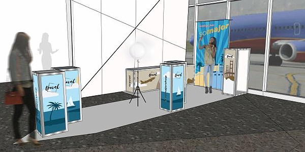 A rendering of So Major airport pop-up. Rendering and photos courtesy of So Major