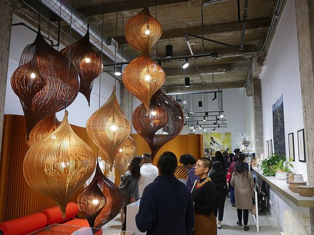 A chandelier from the Pulo Project at Please do Not Enter's flagship store. Chandelier was designed by Luisa Robinson in collaboration with Kenneth Cobonpue.