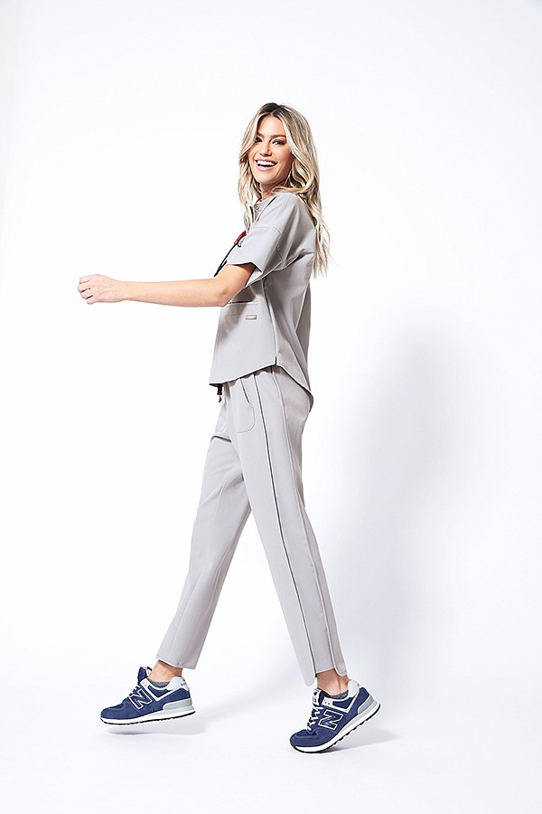 Ejura Convertible scrub top and Prestea Cloud scrub pant | Photo courtesy Figs