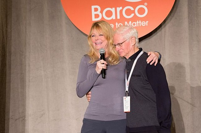 Cheryl Tiegs and Michael Donner, Barco's chairman of the board at the company's 90th anniversary party. Photo courtesy Barco Uniforms