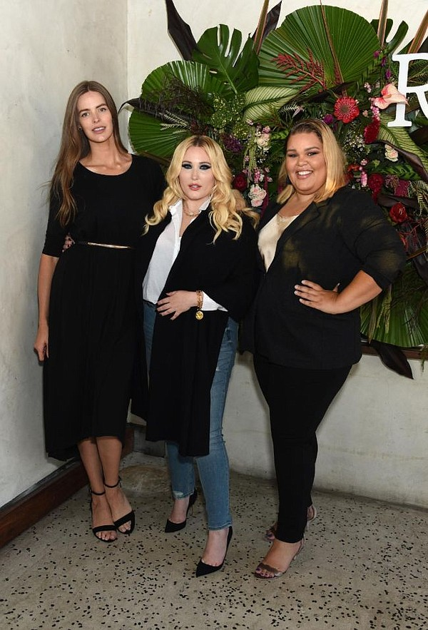 Robyn Lawley, Hayley Hasselhoff and Britney Young wearing Ryllace at debut party for brand. Photo courtesy of Ryllace