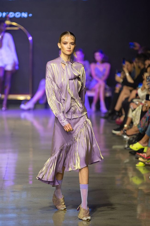 Look from Luooif Studio runway show at LA Fashion Week. Image courtesy Luooif Studio