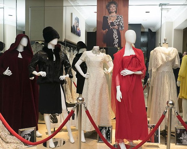 Display of Elizabeth Taylor's dresses. All photos by Tim Regas