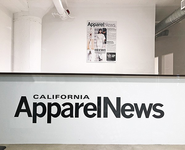 Front reception desk at the new California Apparel News office