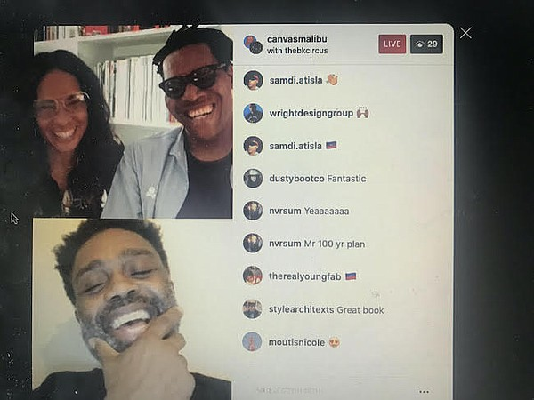 Jac and Arlington Forbes, pictured at top, with Ouigi Theodore of Brooklyn Circus at Race & Retail Instagram Live talk.