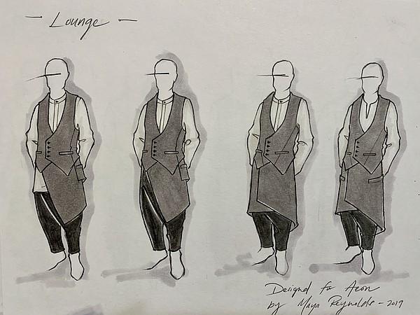 Sketch for Aeon Botanika uniforms by Maya Reynolds Image: Maya Reynolds