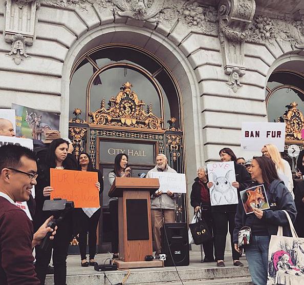 Former San Francisco Supervisor Katy Tang during a fur-ban rally in 2018  Photo: Katy Tang Instagram