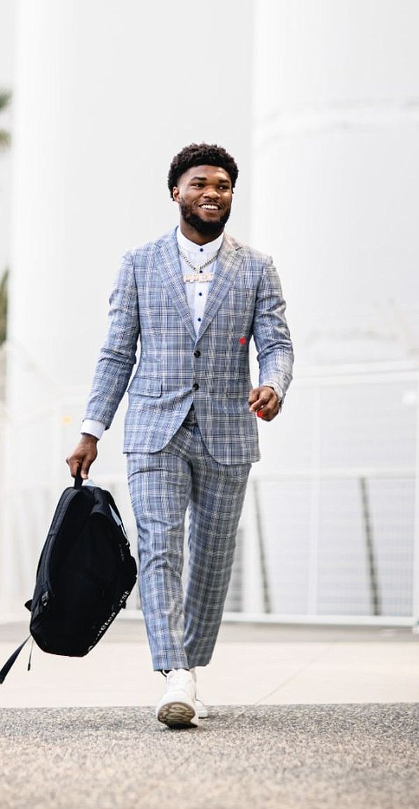 Cam Akers in a Knot Standard custom suit. Image courtesy Knot Standard
