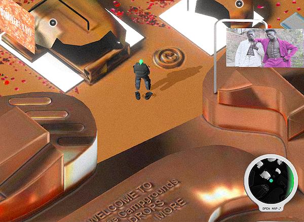 ComplexLand's virtual festival resembles a landscape of a computer game. Screenshot via ComplexLand.com