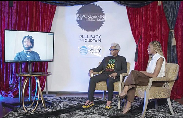"From left, Kerby Jean-Raymond virtually joins TJ Walker and Loren LoRosa for a ""Pulling Back the Curtain"" conversation on Dec. 6, during which the two venerable designers candidly discussed their experiences in the fashion industry. 