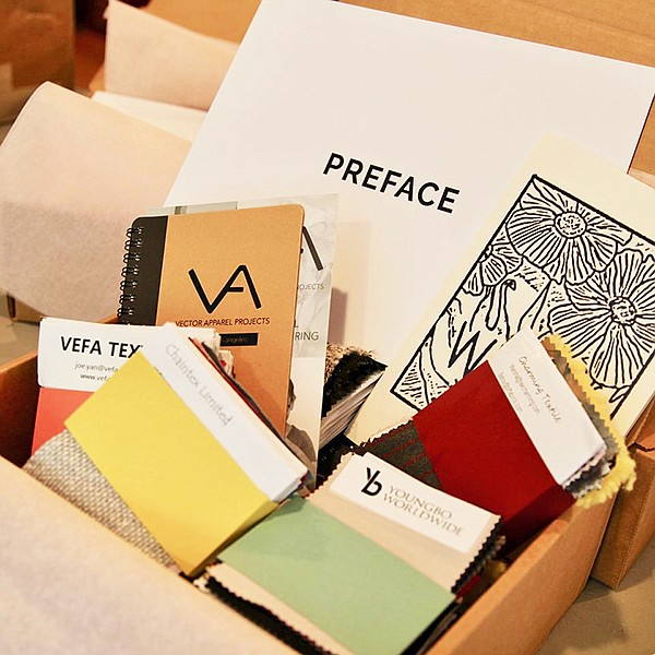 The Preface Show-in-a-Box includes textile samples, workshop supplies and gifting to afford a more-tactile experience for designers and brands in the fabric, yarn and sourcing virtual-events category.  | Photo courtesy of Preface Show