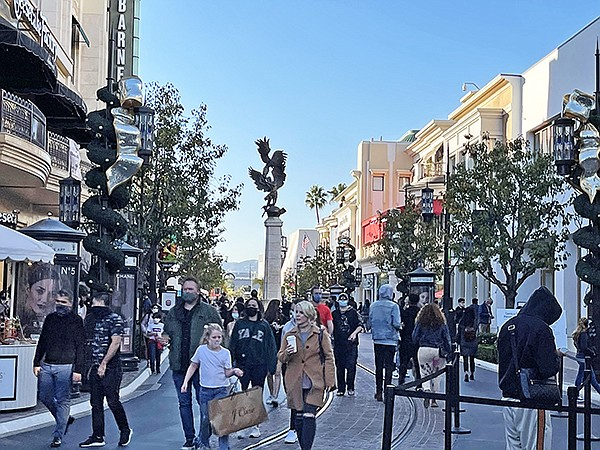 Regulations on crowd size at local malls, such as The Grove—shown above—and The Bloc—shown below, was helped by curbside and in-store pickup and consumers wanting to absorb a little of the holiday spirit. Still, e-commerce ruled the season.