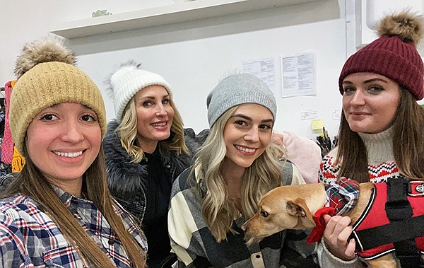 Virginia Wolf beanies at the Cooper's Agency Showroom (right), modeled—from left—by Alejandra Pimienta, showroom coordinator; Stacy Holmes, owner; Niki Williams, sales manager; Brooke Denune, sales assistant; and Finley Guard Dog, greeter | Photo courtesy of Agency Showroom