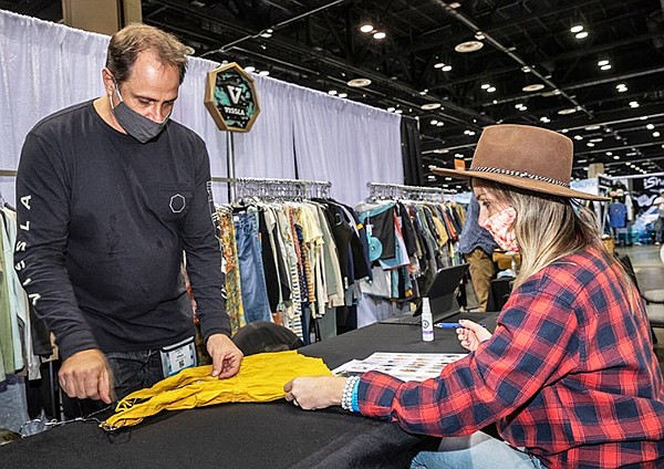 At the Vissla booth, strong categories included boardshorts, sofa-surfer walks, tees and long-sleeve wovens in addition to wet suits due to the rise in popularity of surfing, a naturally socially distanced sport.