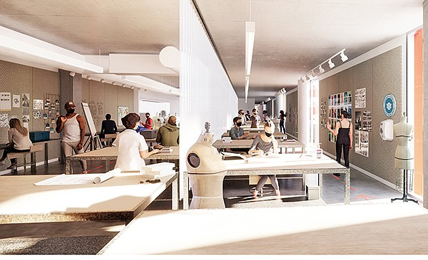 This rendering shows how Otis intends to reopen its fashion-department studios, allowing for proper spacing between students while also openness for instructor feedback and collaboration.