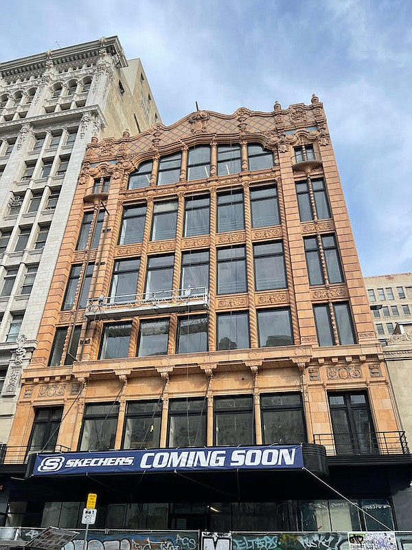 Exterior of the upcoming Skechers store in downtown Los Angeles.