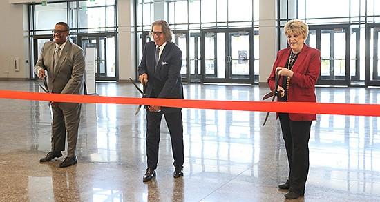 From left: Las Vegas Councilman Cedric Crear, IMC CEO Bob Maricich and Las Vegas City Mayor Carolyn Goodman celebrate the opening of the Expo and World Market Center Las Vegas.