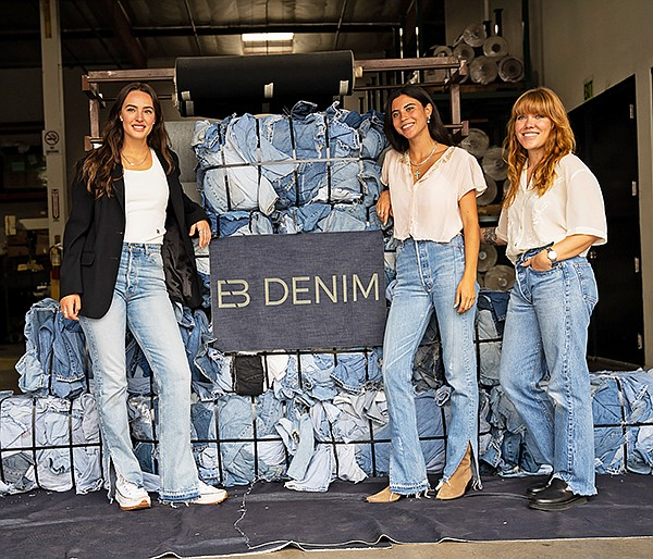 In celebration of its partnership with EB Denim, denim-development company SFI hosted an event to afford insight into how it adhered to its new partner's sustainable mission when creating the Unraveled Two collection. Wearing pieces from the Uraveled Two collection, standing from left, EB Denim's Elena Bonvicini and Simply Suzette's Ani Wells join SFI's Vice President of Design Alaina Miller in celebrating the collection's launch. | Photo courtesy of SFI