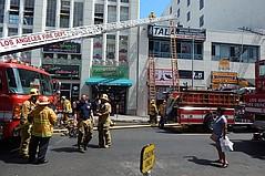 Fire in the LA Fashion District Near Santee Alley