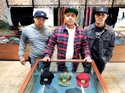THE RETURN: After an absence of six years, the Crooks & Castles brand has returned to Fairfax. From left: Gee De LA Cruz, Crooks' marketing manager; Dennis Calvero, Crooks' founder/creative director; Emil Soriano Jr., apparel design director
