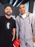 Adam Derry of ADBD with Oklahoma City Thunder point guard Russell Westbrook, who was shopping on Fairfax on Nov. 12