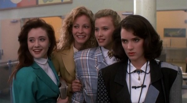 """Shannon Doherty, Lisanne Falk, Kim Walker and Winona Ryder from the 1988 film """"Heathers"""""""