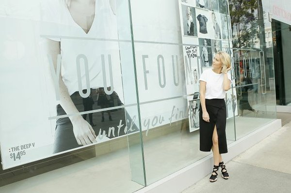 Model Lara Bingle, the face of Cotton On's The ONE Collection, poses in front of the Australian retailer's Third Street Promenade shop.