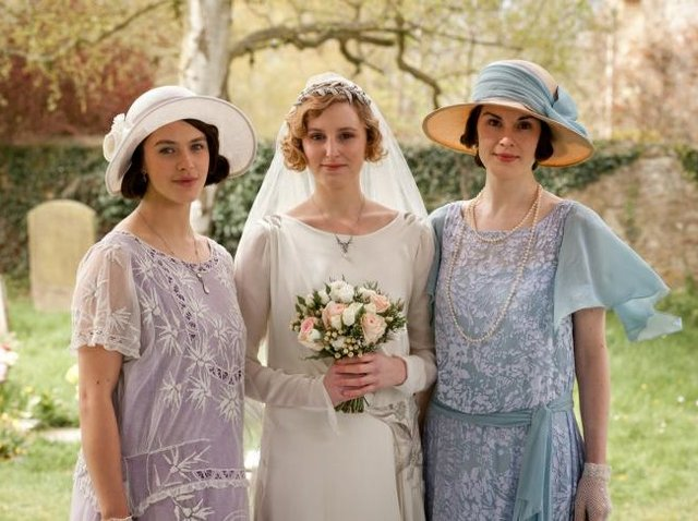 """Downton Abbey"" cast members Jessica Brown Findlay, Laura Carmichael and Michelle Dockery"