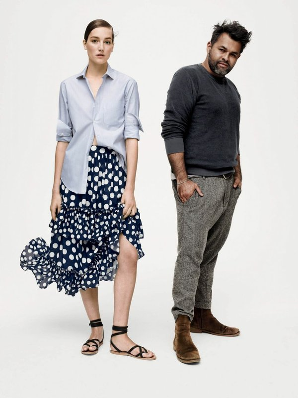 Juan Carlos Obando, right, with a model wearing a look from his J. Crew collab. Image courtesy of J.Crew.