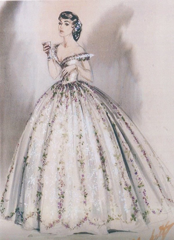 "An illustration of Walter Plunkett's design for Elizabeth Taylor in MGM's 1957 film ""Raintree County"""