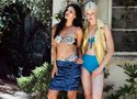 "(Left) BEACH RIOT ""Mary Ann"" top and ""Ginger"" bottom in ""Skipper."" JG by JAD GHANDOUR purple and black ""Discotheque"" skirt. (Right) SAHA teal ""Cocuy"" bikini. GENEVIEVE CLIFFORD snake-embossed motorcycle vest. Photography by Sophia Alvarado."